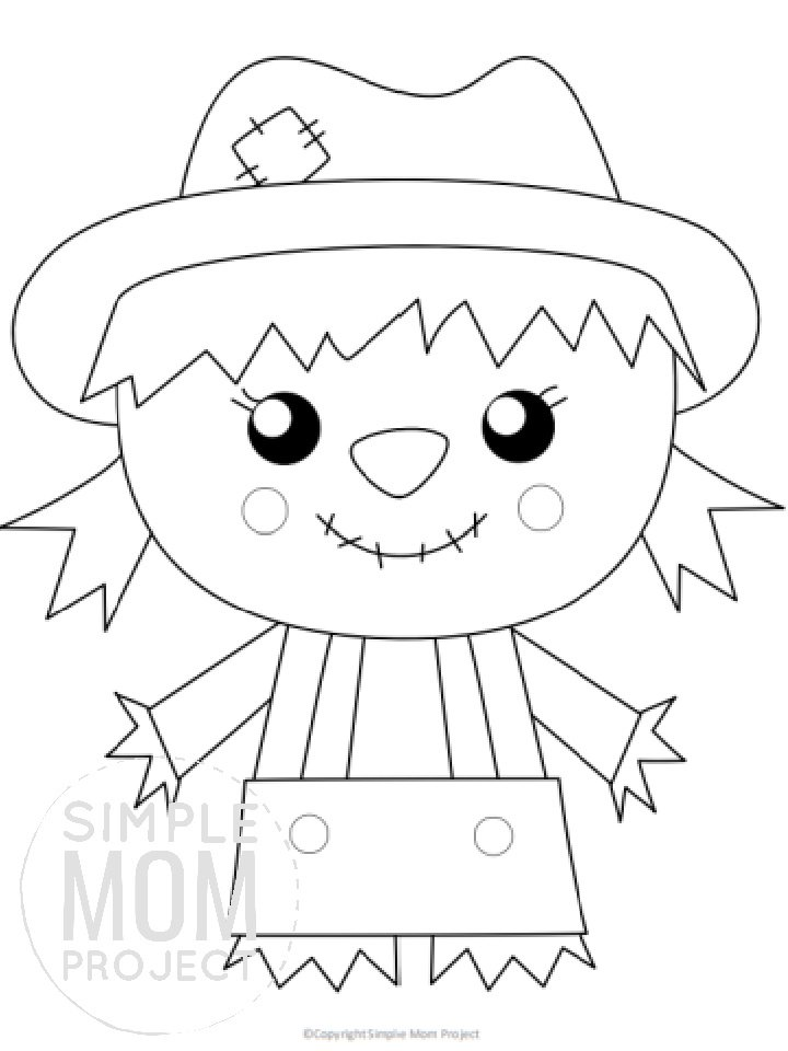 Free Printable Scarecrow Template for kids preschoolers toddlers