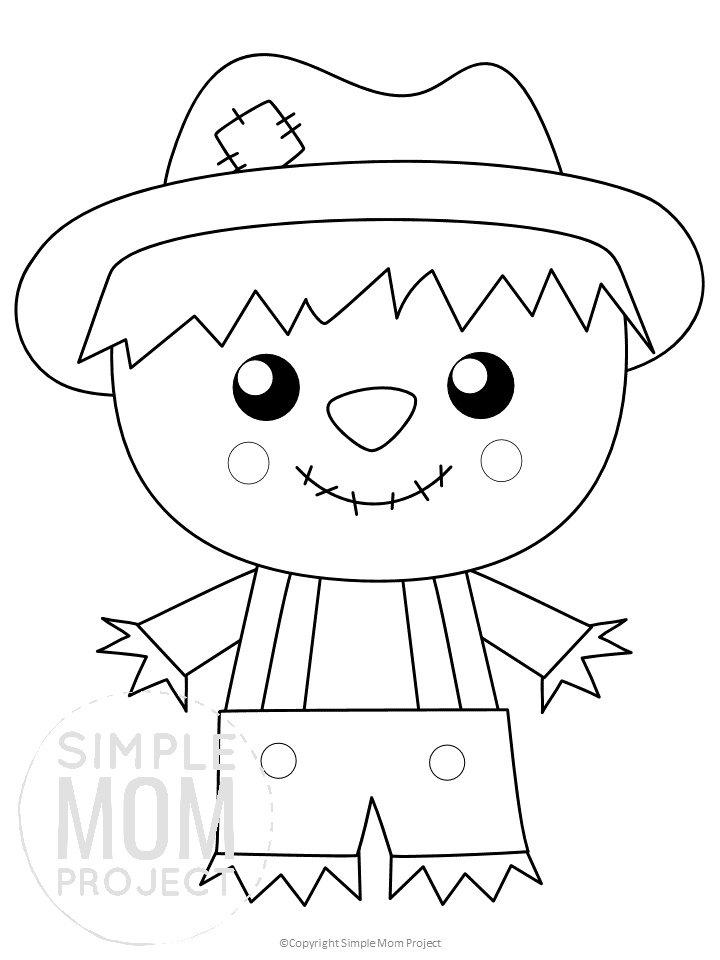 Printable Scarecrow Template for kids preschoolers toddlers