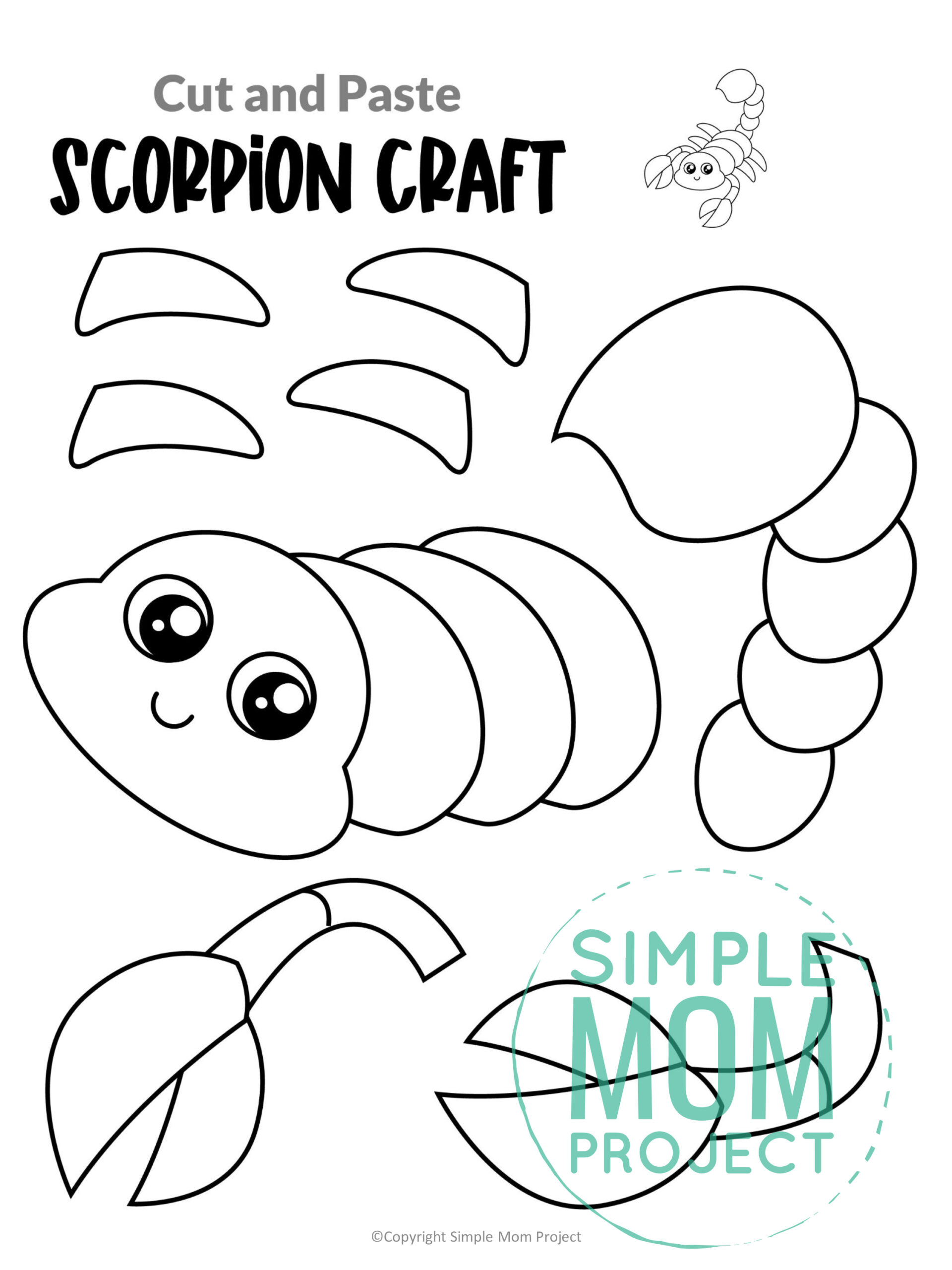 Printable Scorpion Craft for Kids, preschoolers and toddlers