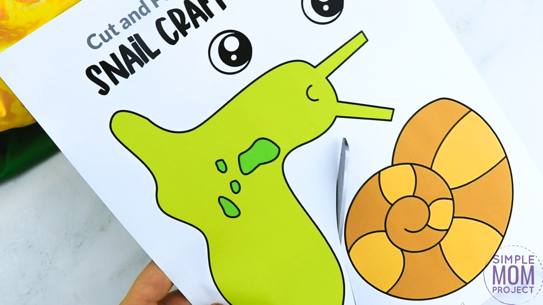 Free Printable Snail Craft for Kids, preschoolers and toddlers