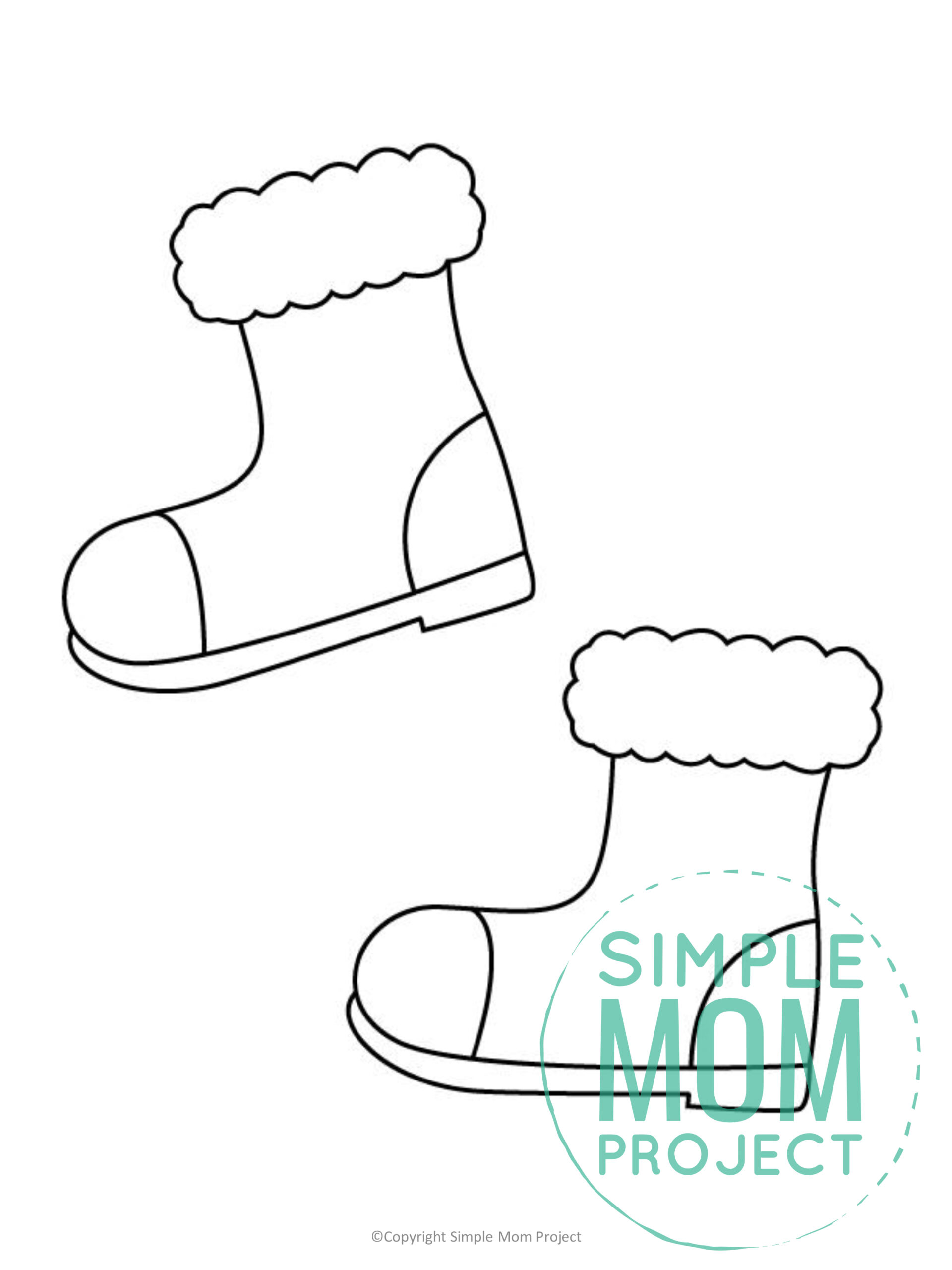 Free Printable Snow Boots Template for kids preschoolers toddlers