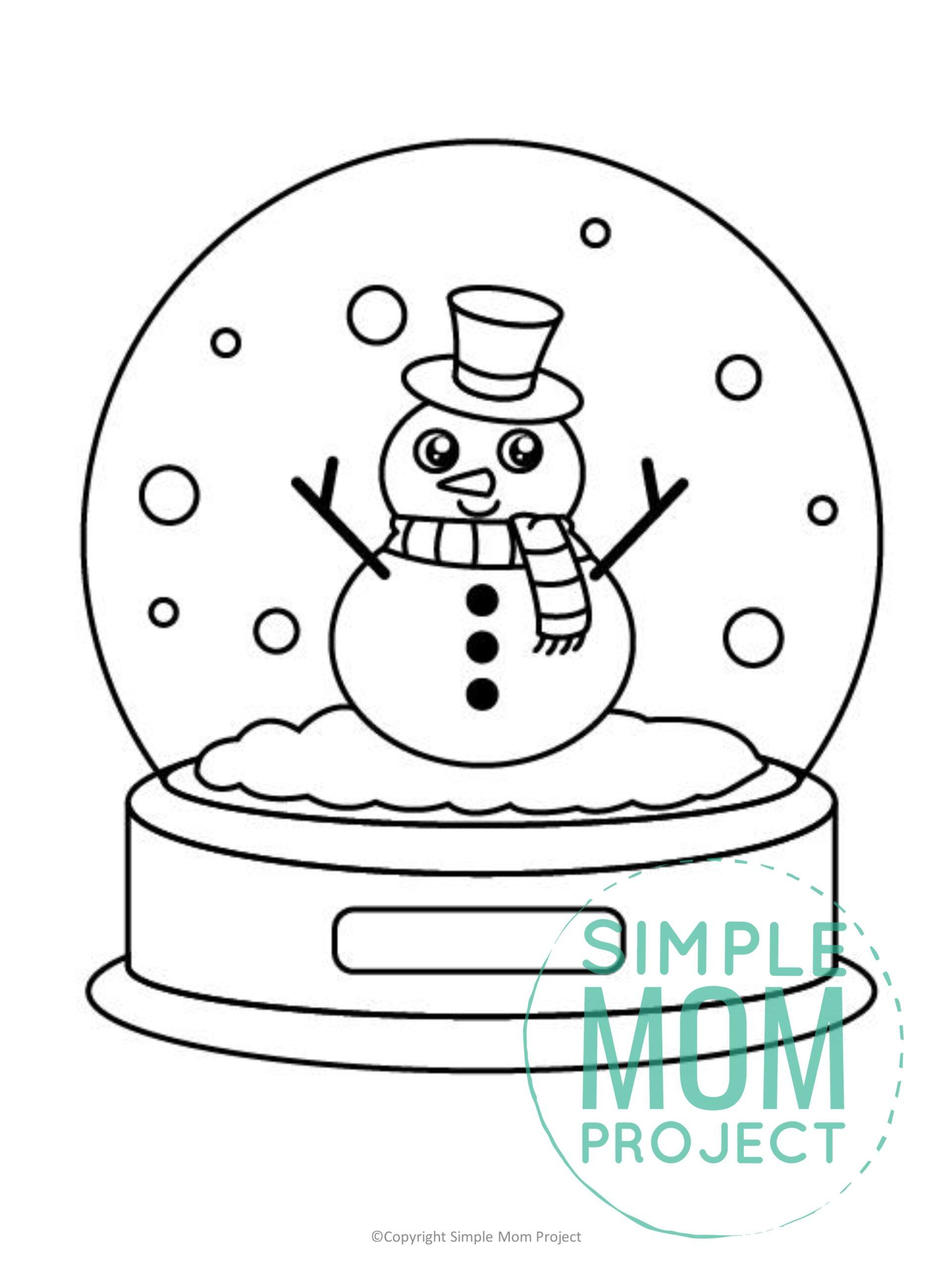 Printable Snow Globe Template for kids preschoolers toddlers
