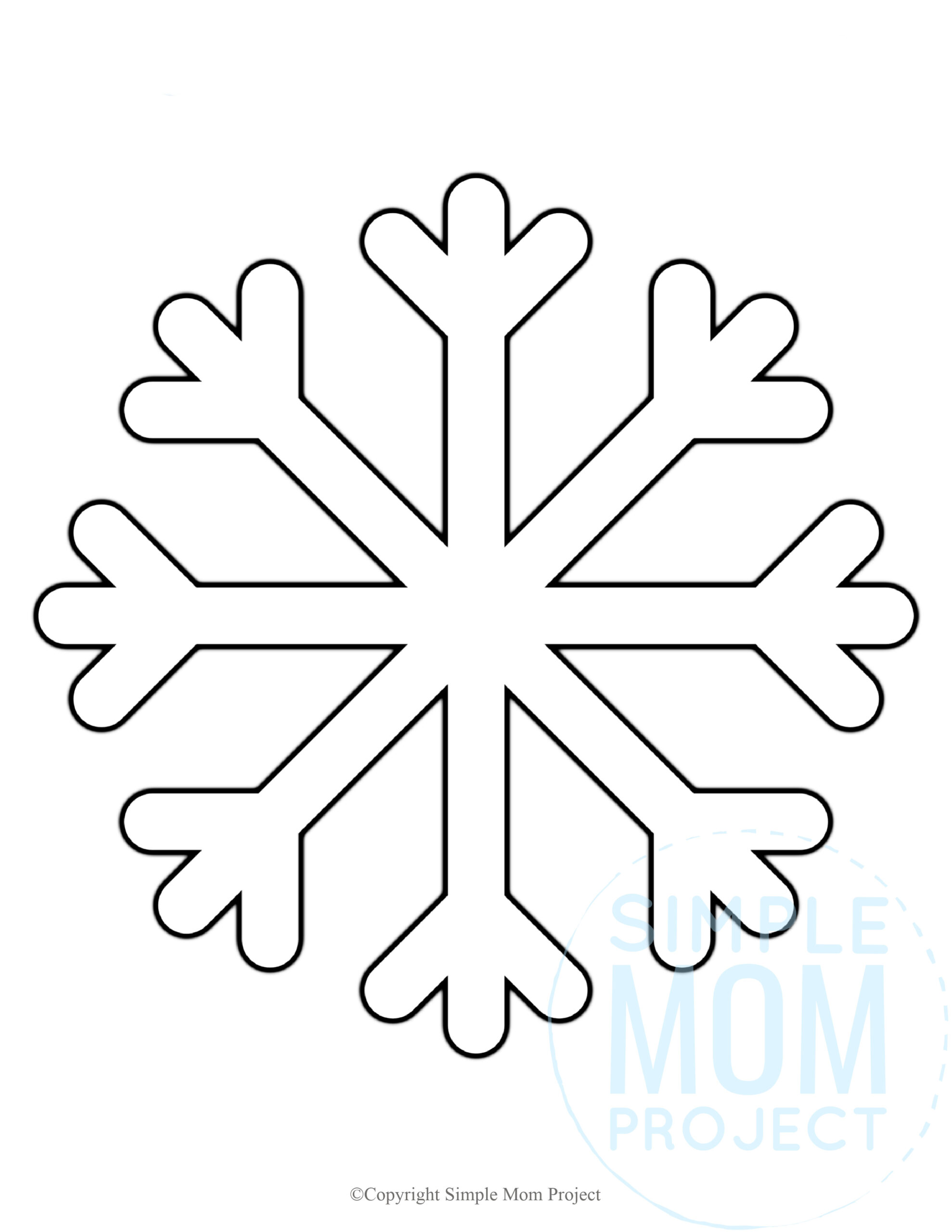 Free Printable Snowflake template, snowflake pattern, snowflake stencil, snowflake outline for kids winter crafts