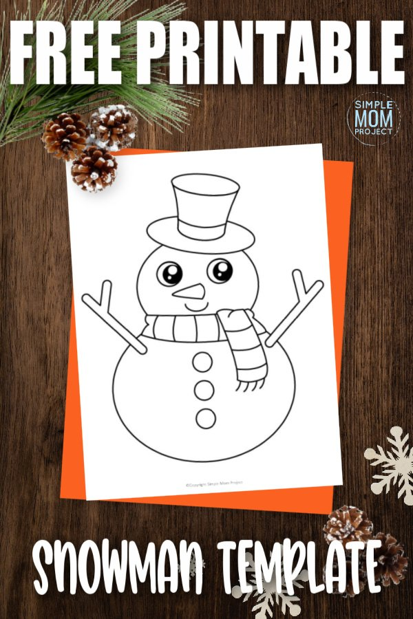 It may not be Olaf or have a real carrot nose, but this free printable large snowman template is a great way to enjoy a fun winter craft! Use it as a traceable activity or build your own by cutting it apart and gluing it to a blank sheet of construction paper. You can even turn this snowman template into an easy coloring activity!