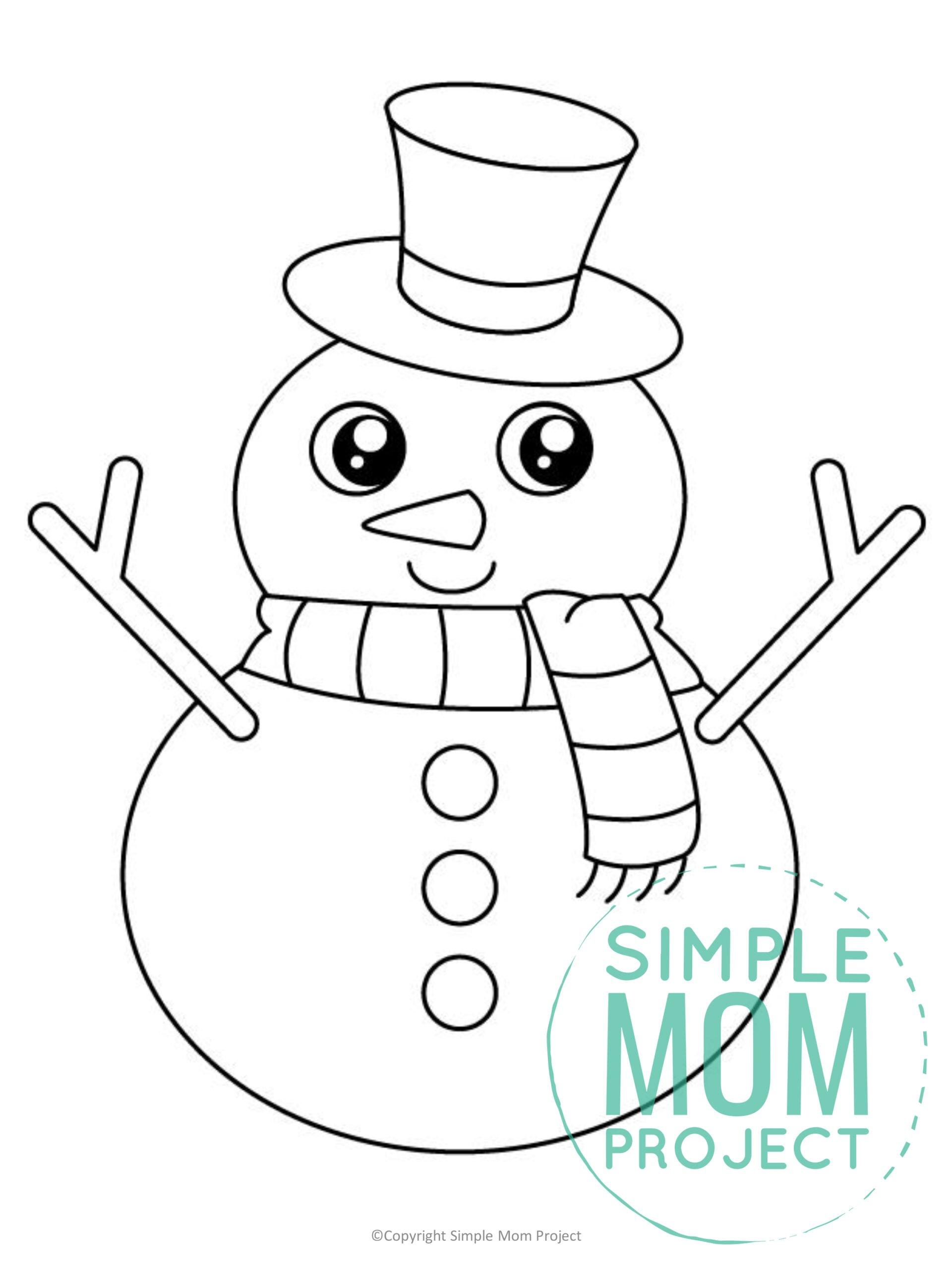 Free Printable Snowman Template for kids preschoolers toddlers
