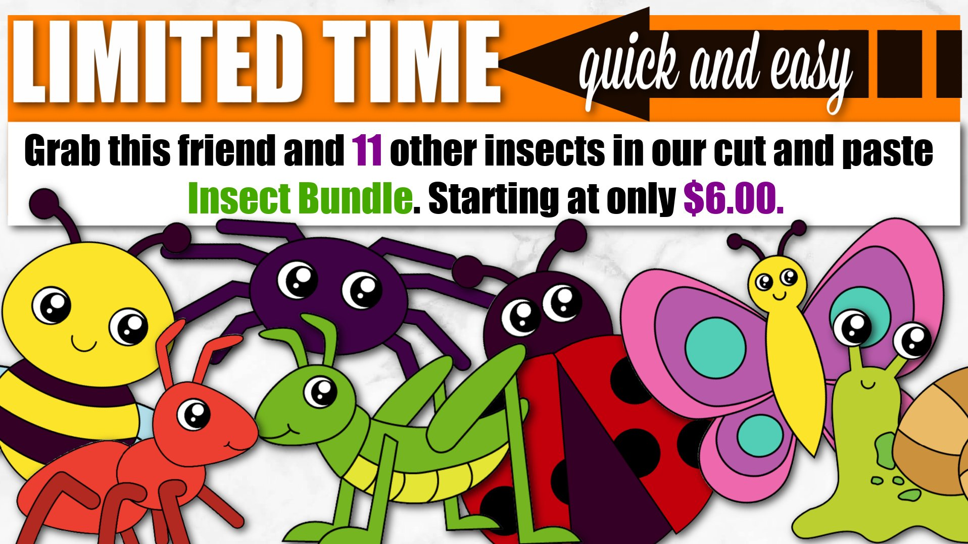 Easy Printable Cut and Paste Bug Crafts for kids, preschoolers and toddlers for summer crafts