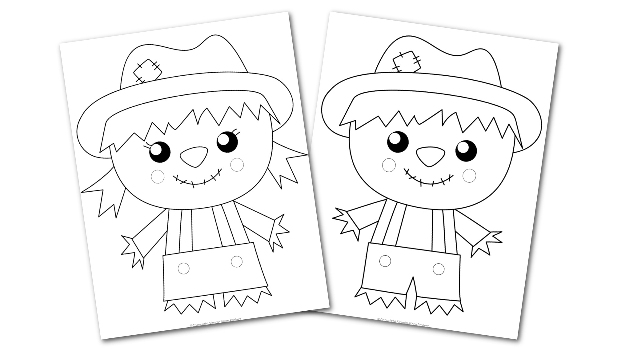 Free Printable Scarecrow coloring page for preschoolers, toddlers and kindergartners 3