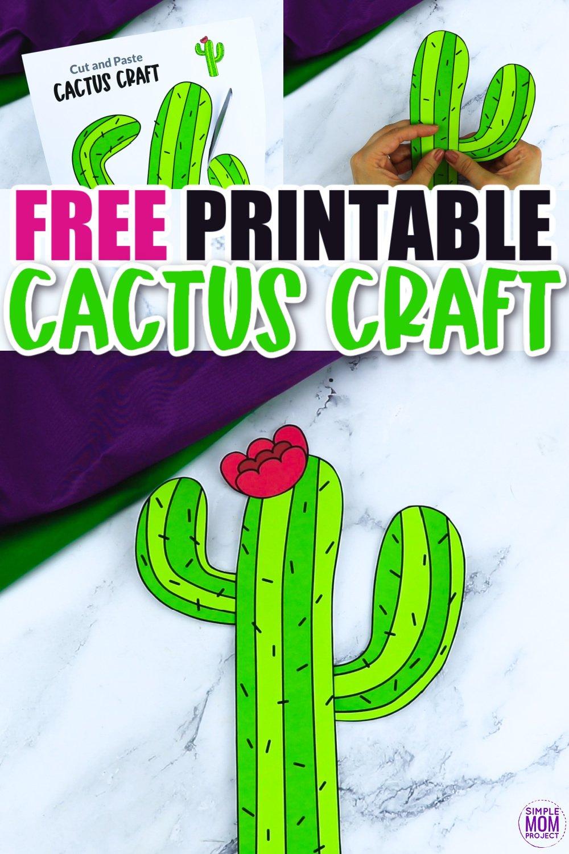Free Printable Cactus Flower Craft template for kids, cactus craft for toddlers and cactus craft for kindergartners