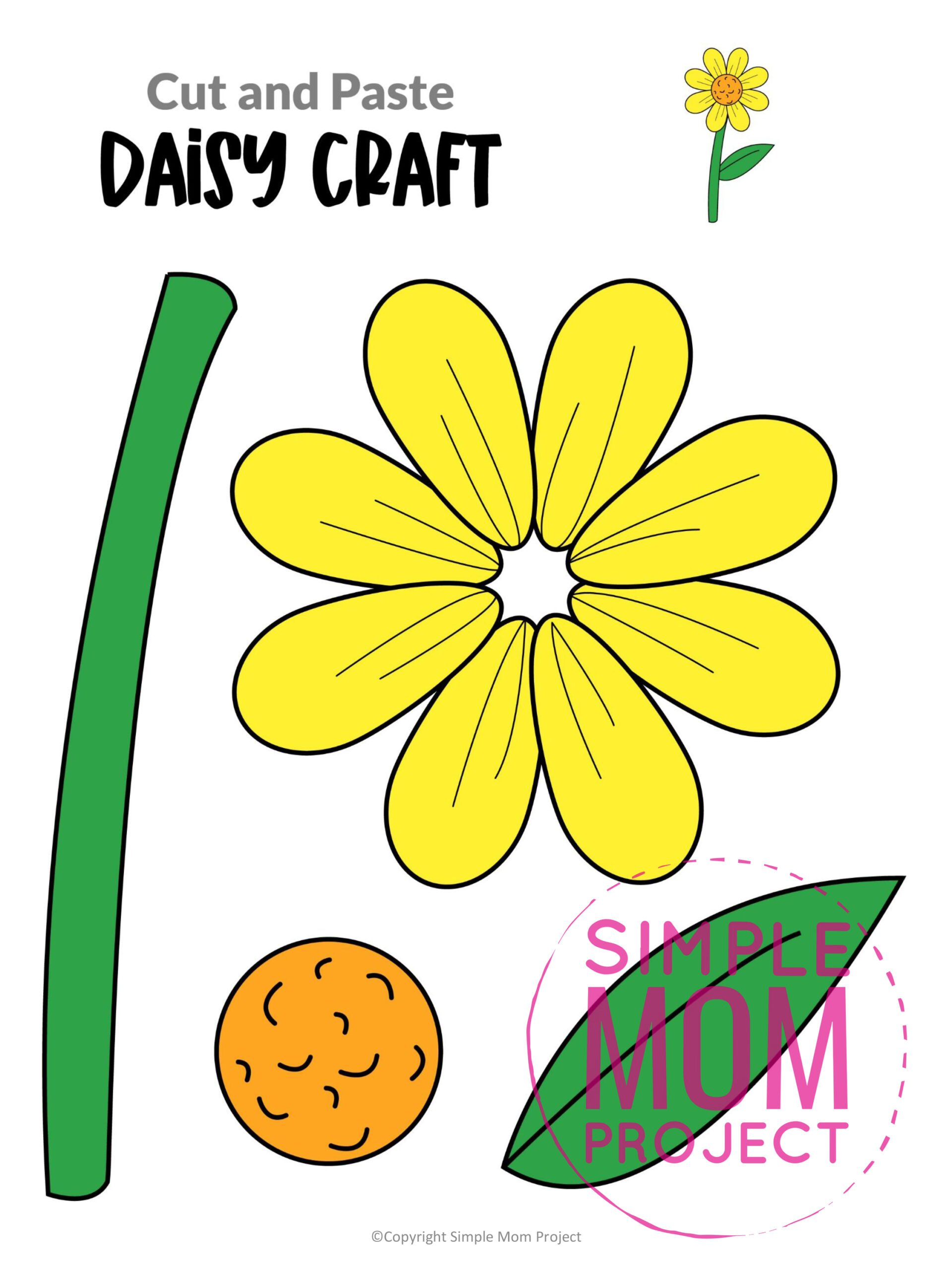Printable Daisy Flower Craft template for kids, Daisy craft for toddlers and Daisy craft for kindergartners