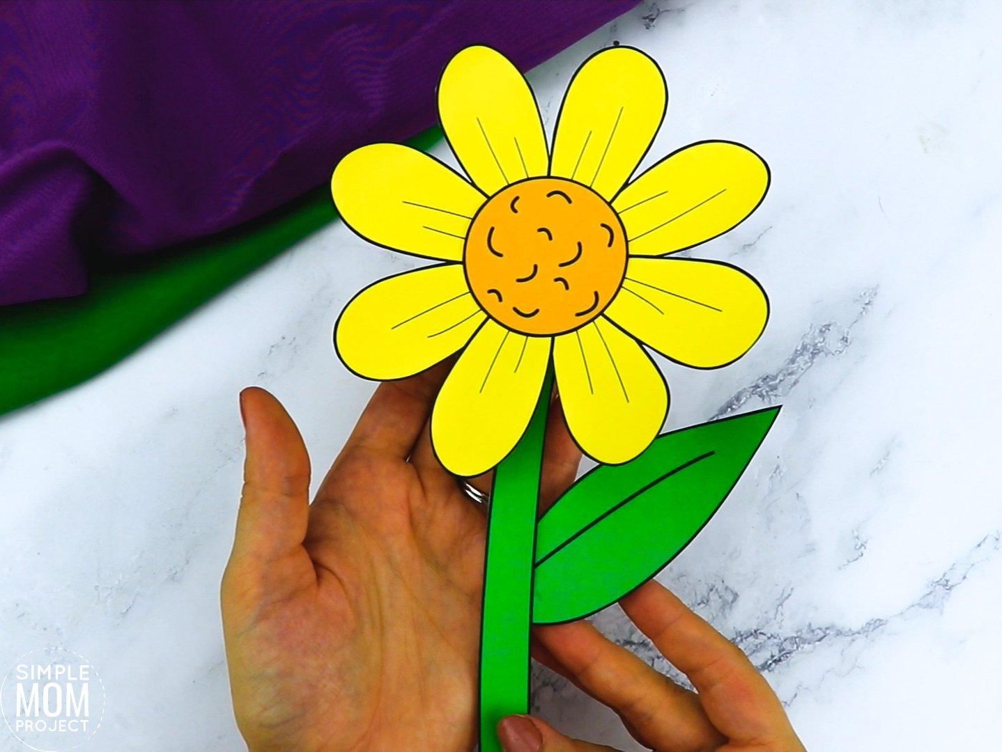 Free Printable Daisy Flower Craft template for kids, Daisy craft for toddlers and Daisy craft for kindergartners