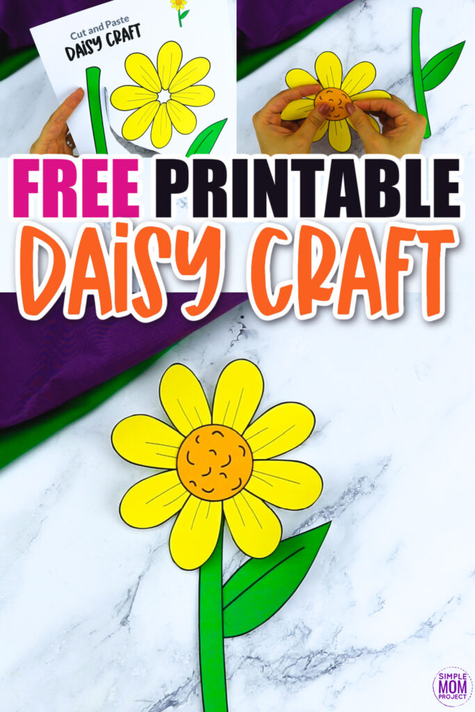 Are you looking for a fun and simple flower craft to do with your kids? This spring daisy flower template is a perfect craft to do with your kindergartners, preschoolers and toddlers this spring. Paint them, color them or turn them into a beautiful daisy greeting card!