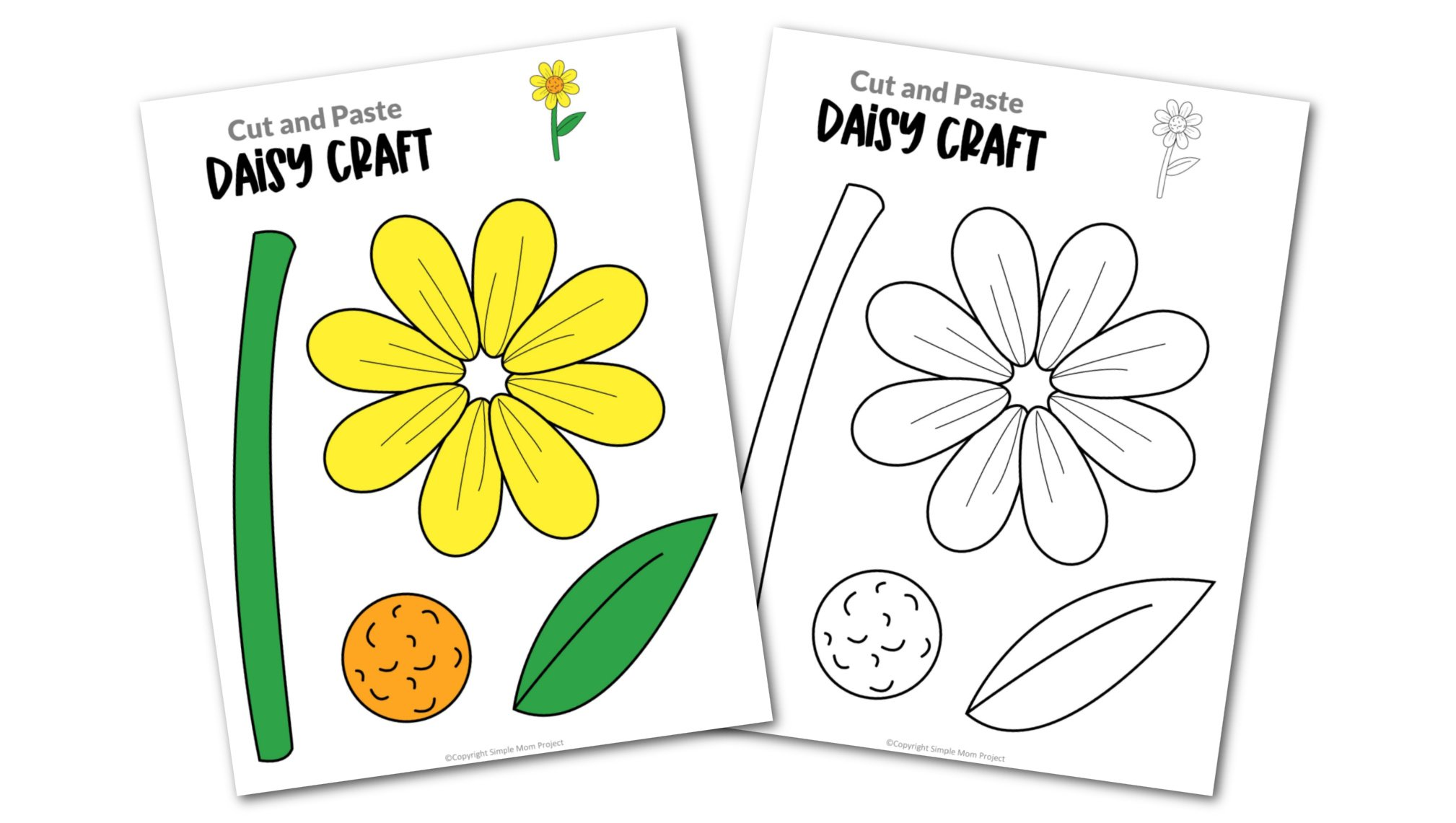 Free Printable Daisy Flower Craft template for kids, cactus craft for toddlers and cactus craft for kindergartners