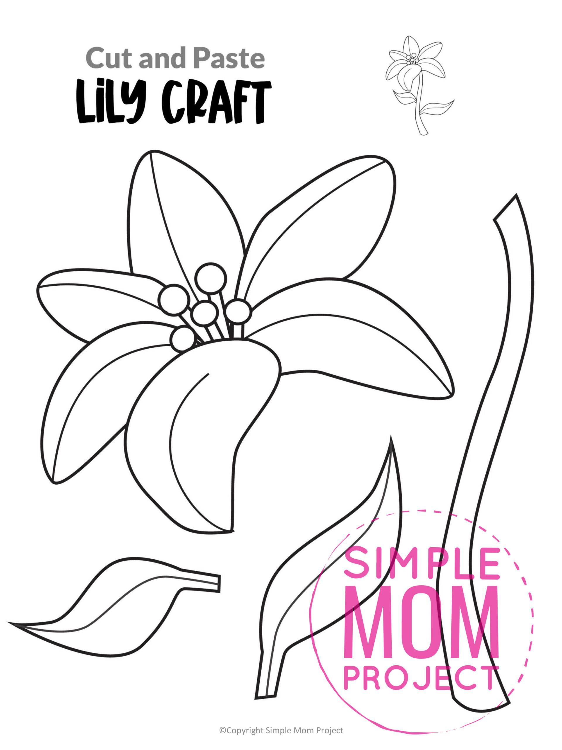 Free Printable Lily Flower Craft template for kids, Lily craft for toddlers and Lily craft for kindergartners