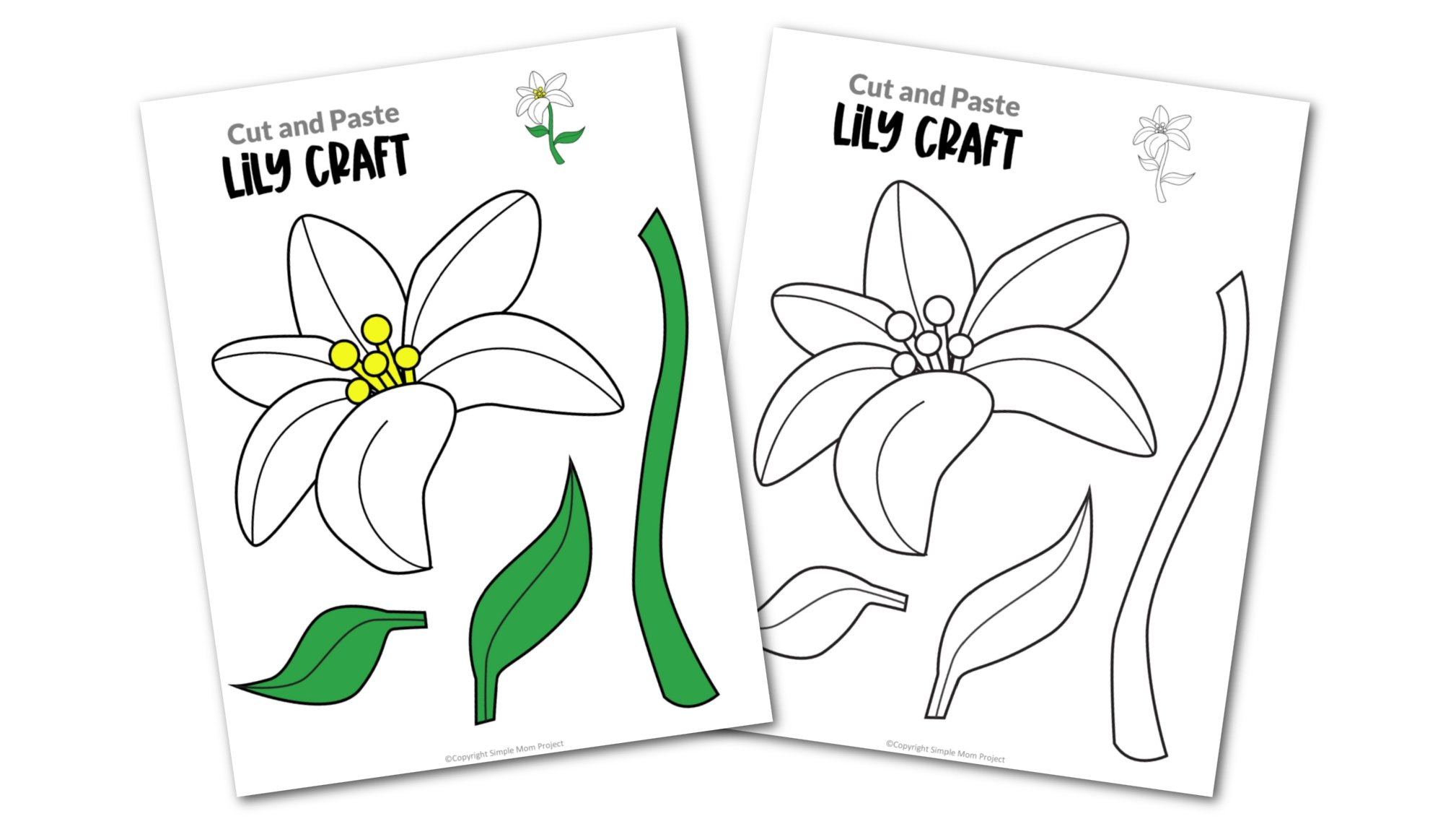 Free Printable Lily Flower Craft template for kids, cactus craft for toddlers and cactus craft for kindergartners