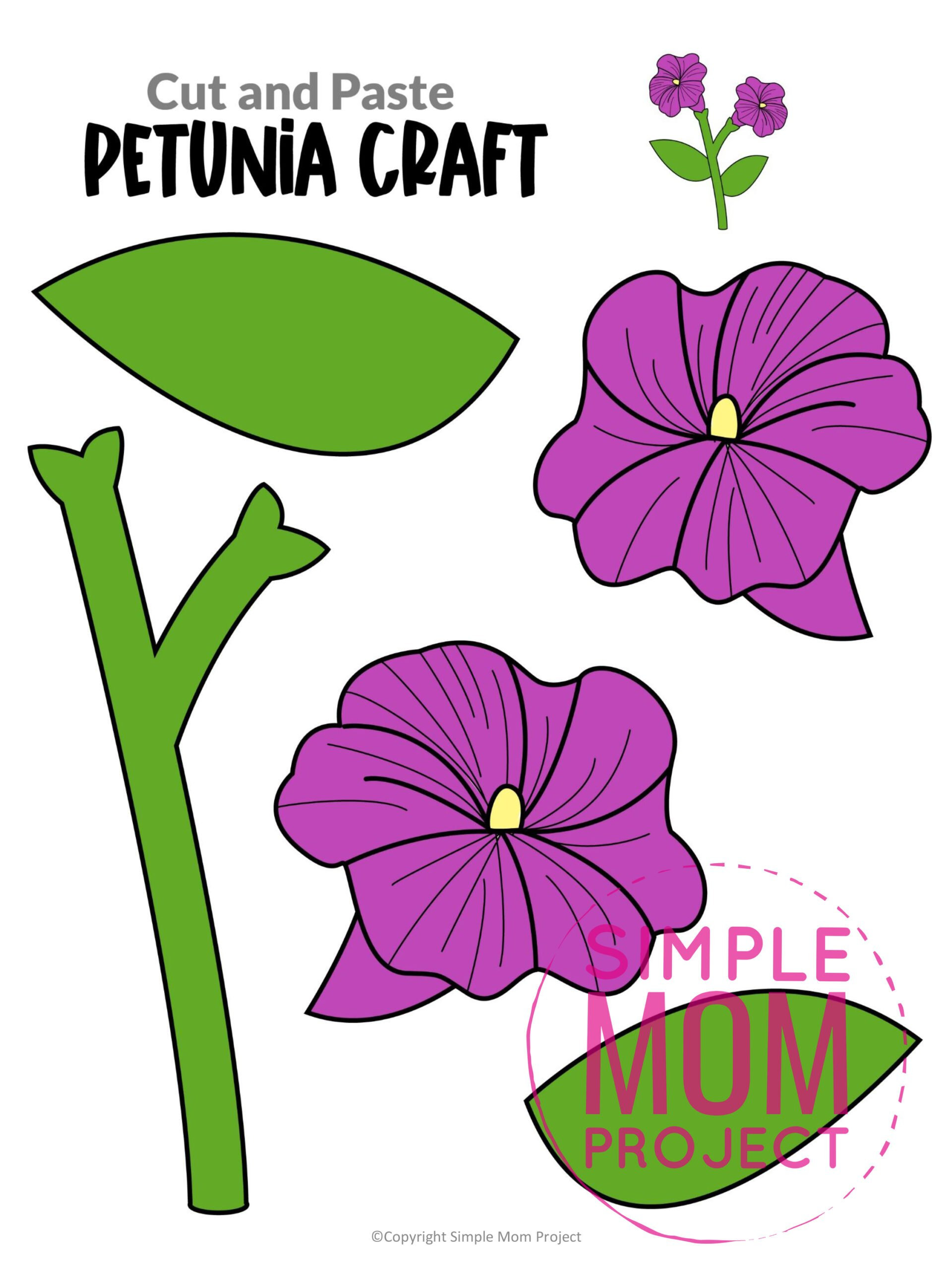 Printable Petunia Flower Craft template for kids, Petunia craft for toddlers and Petunia craft for kindergartners
