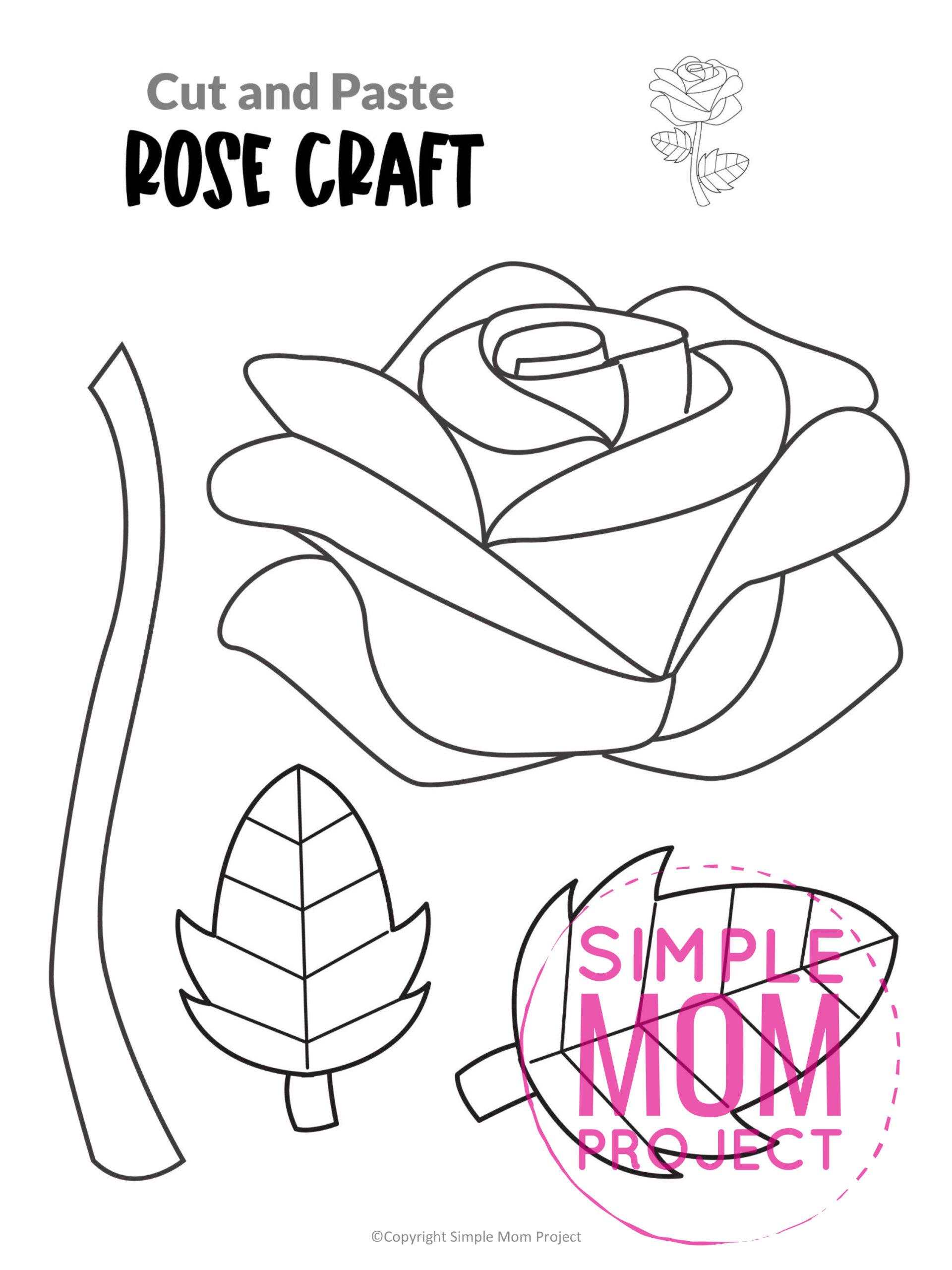 Printable Rose Flower Craft template for kids, Rose craft for toddlers and Rose craft for kindergartners