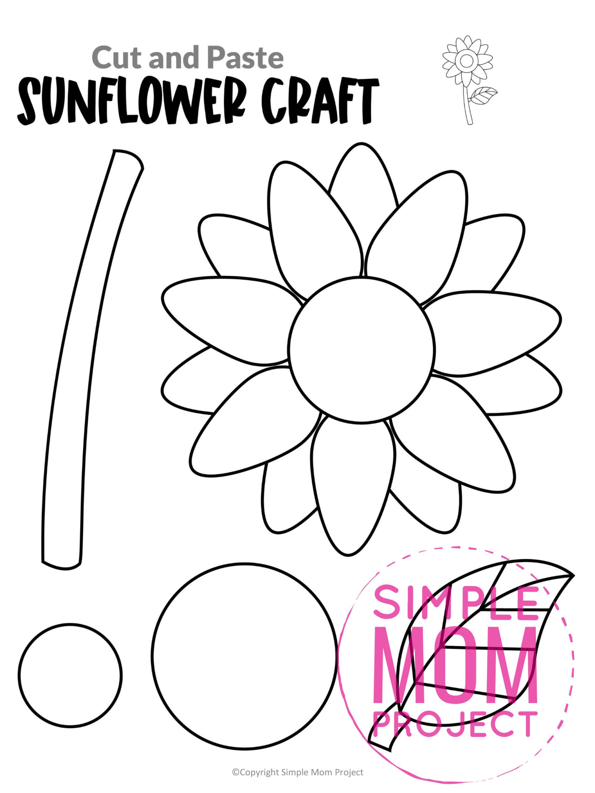 Printable Sunflower Flower Craft template for kids, Sunflower craft for toddlers and Sunflower craft for kindergartners