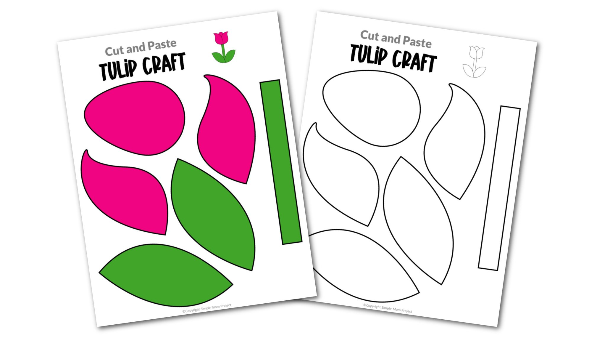 Free Printable Tulip Flower Craft template for kids, cactus craft for toddlers and cactus craft for kindergartners