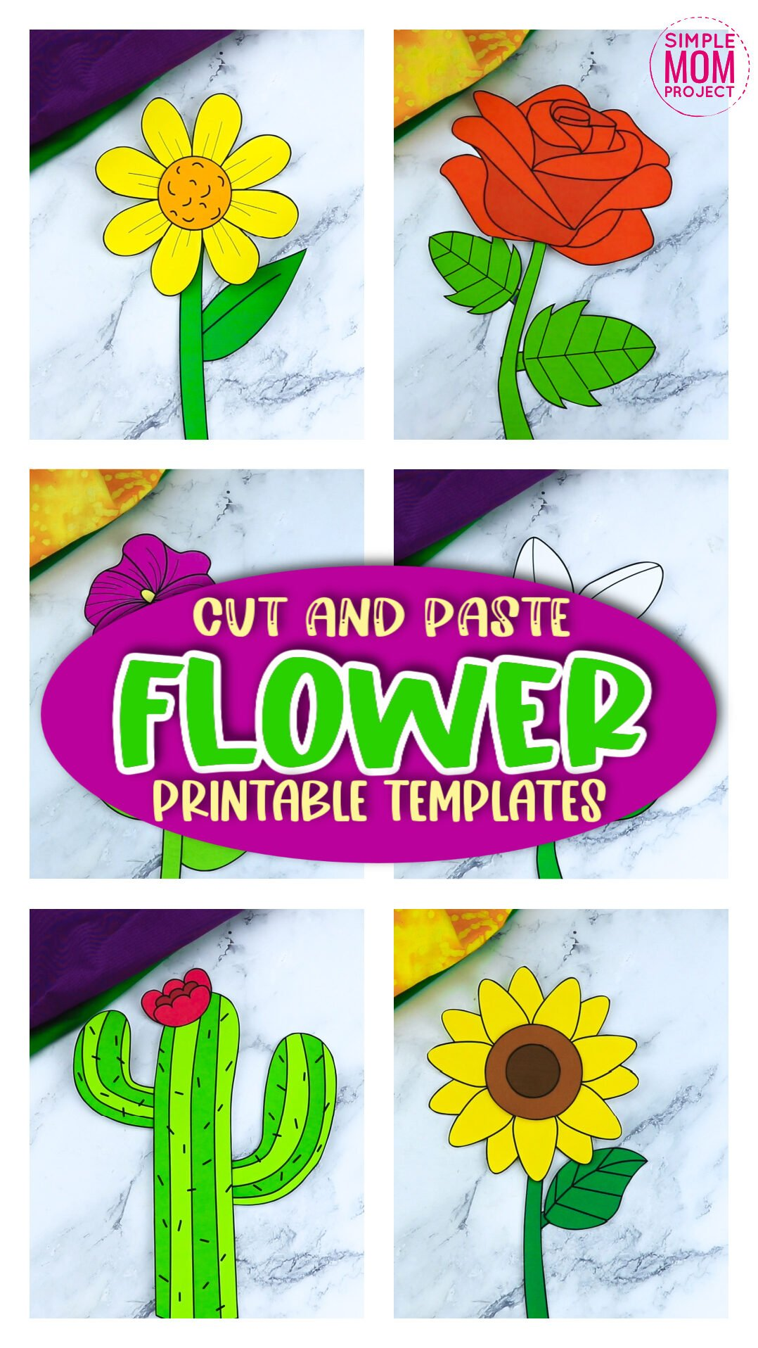 Printable Flower Craft Templates for flower Crafts for Kids Preschoolers and toddlers