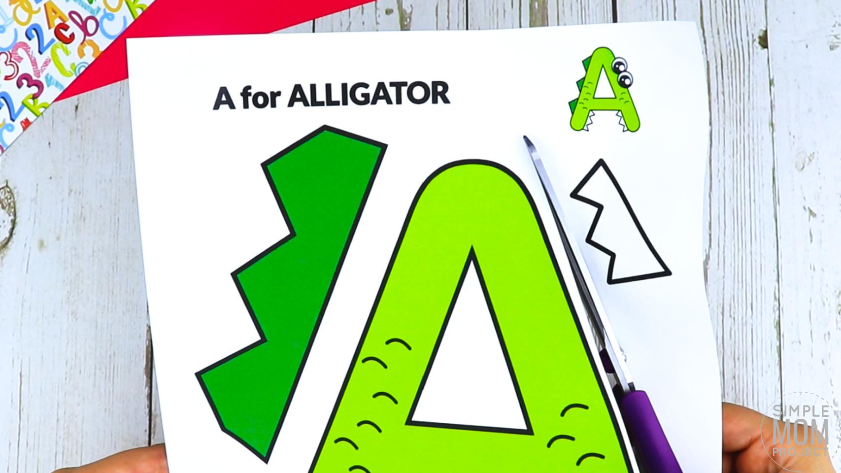 A is for Alligator Free Printable Craft Alligator Letter A Craft for Kids, preschoolers, toddlers and kindergartners