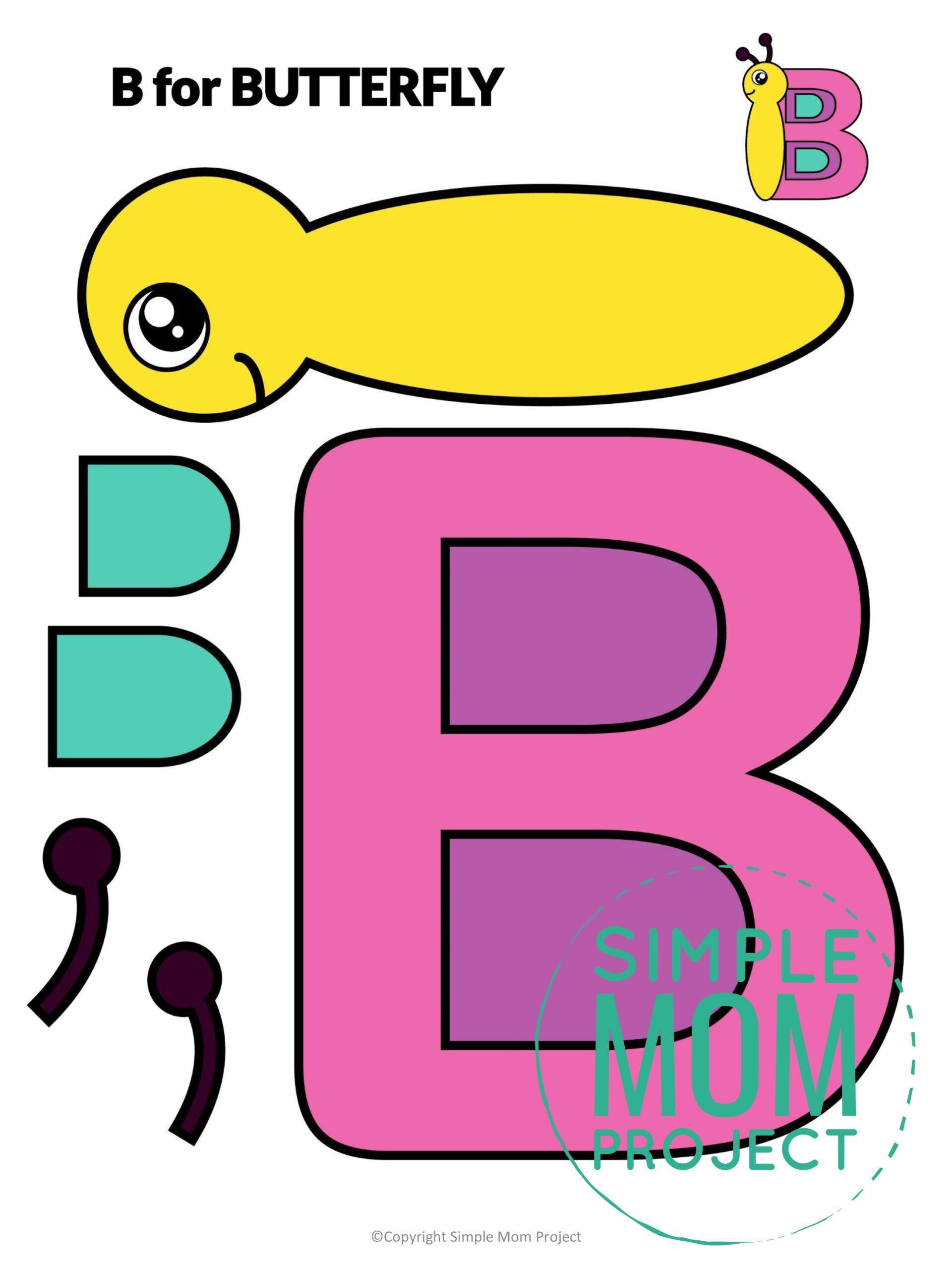 B is for Butterfly Free Printable Craft Butterfly Letter B Craft for Kids, preschoolers, toddlers and kindergartner