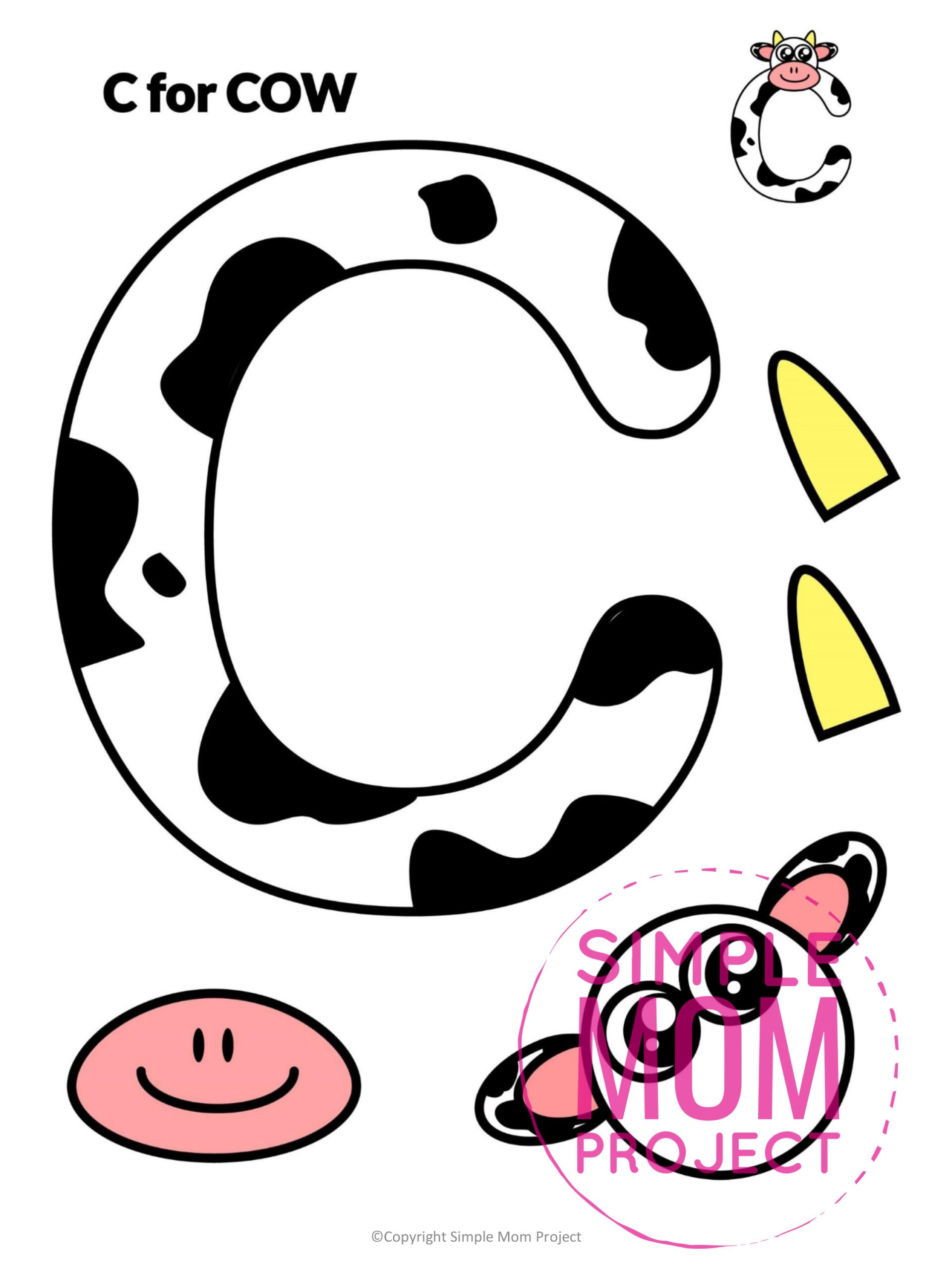 C is for Cow Free Printable Craft Cow Letter C Craft for Kids, preschoolers, toddlers and kindergartners
