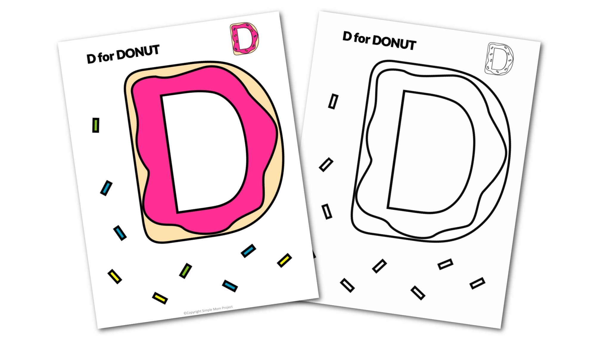 D is for Donut Printable Craft Donut Letter D Craft for Kids, preschoolers, toddlers and kindergartners