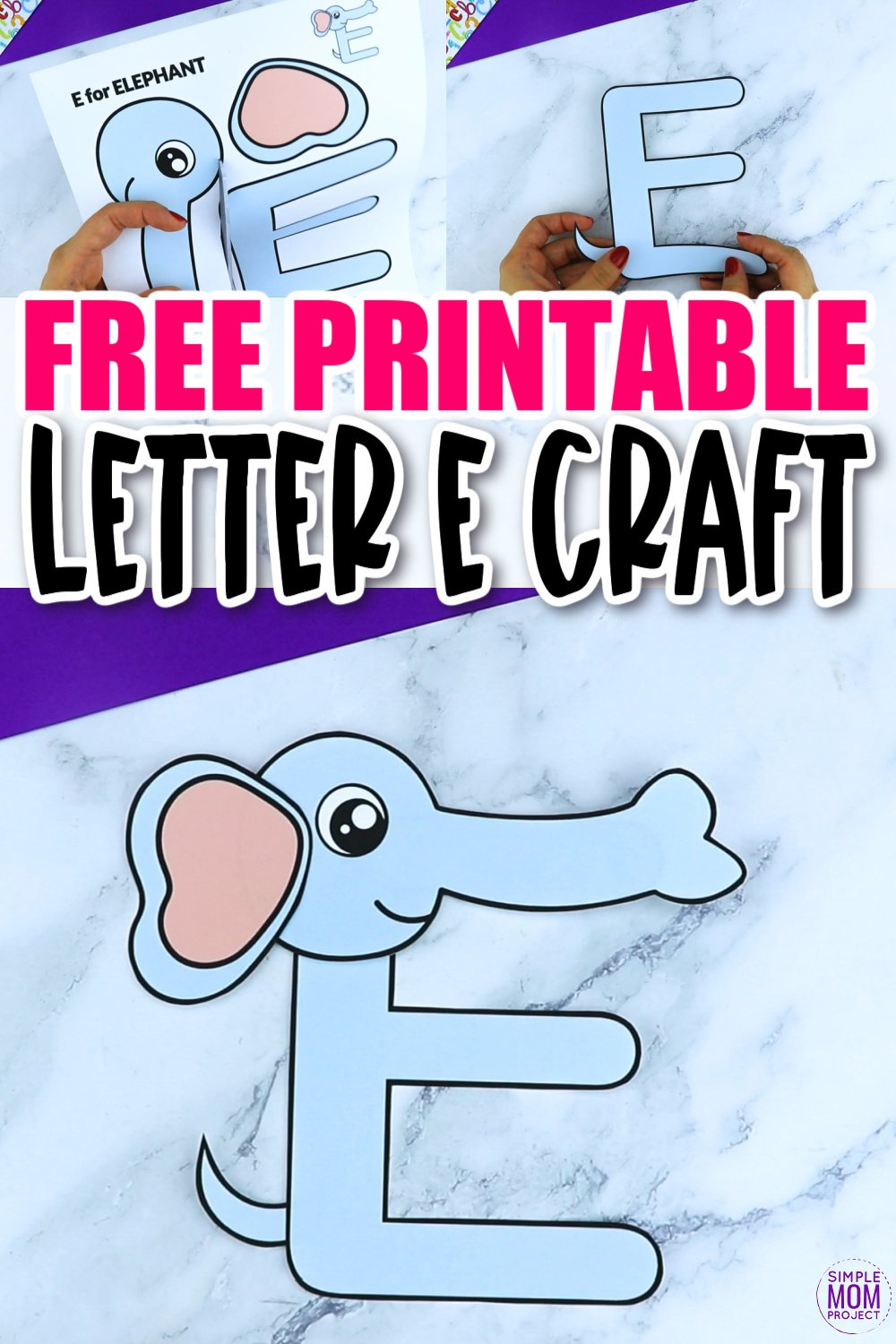 E is for Elephant Printable Craft Elephant Letter E Craft for Kids, preschoolers, toddlers and kindergartners