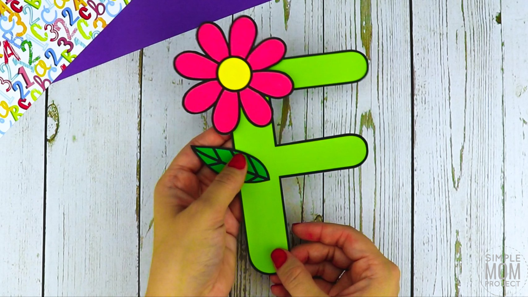 F is for Flower Printable Craft Flower Letter F Craft for Kids, preschoolers, toddlers and kindergartners