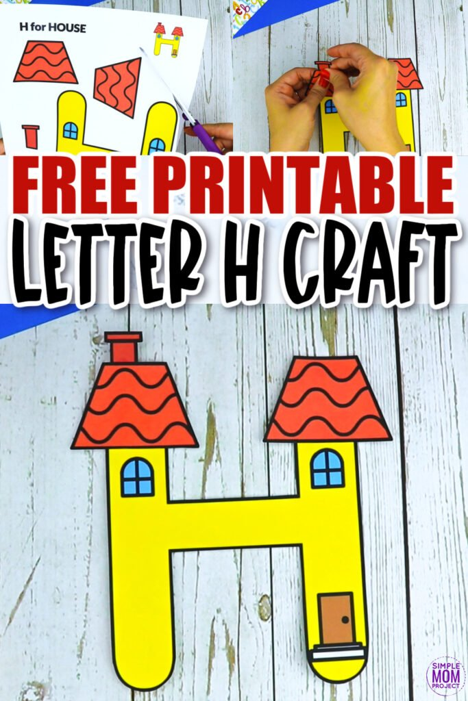 Are you looking for a fun and creative way to teach the alphabet uppercase letter H? Use this fun preschool free printable house H learning craft activities. Grab a helicopter toy, hippo or even some horse stuffed friends and other things that start with H while you make this letter H is for house craft. Your kindergarten students will also love making this fun printable letter H is for house craft.