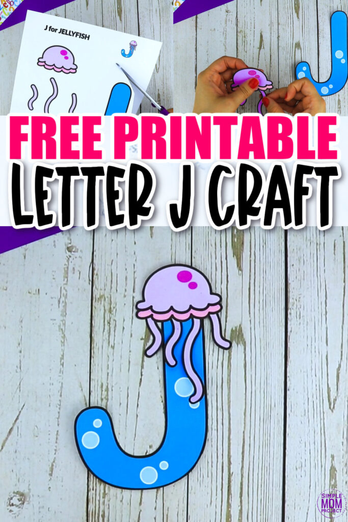 Are you looking for a fun and creative way to teach the alphabet uppercase letter J? Use this fun preschool free printable letter J for jellyfish learning craft activities. While you craft, grab other things that start with J like a jet, juice, jaguar or if you have a jet toy. Use them to teach about the letter J and the sound! Your kindergarten students will also love making this fun printable letter J is for jellyfish craft.