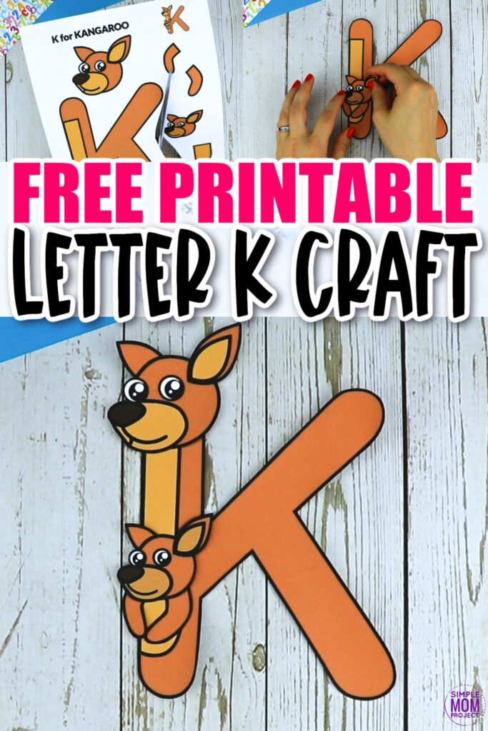 Are you looking for a fun and creative way to teach the alphabet uppercase letter K? Use this fun preschool free printable letter K for Kangaroo learning craft activities. Grab other things that start with the letter K, like a koala toy, your keys or perhaps eat a kiwi as you make this easy letter K craft. Your kindergarten students will also love making this fun printable letter K is for kangaroo craft.