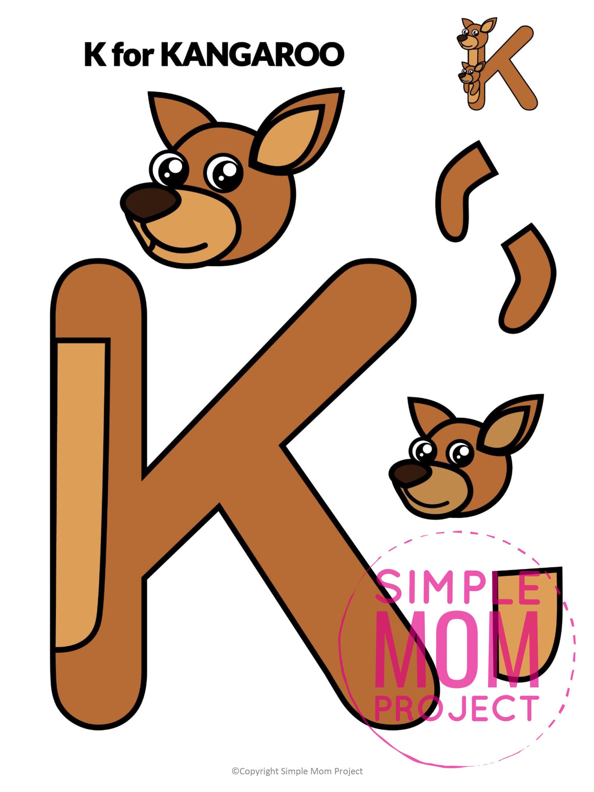 K is for Kangaroo Printable Craft Letter K Craft for Kids, preschoolers, toddlers and kindergartners