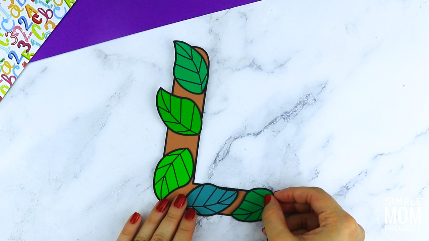 L is for Leaf Printable Craft Leaf Letter L Craft for Kids, preschoolers, toddlers and kindergartners