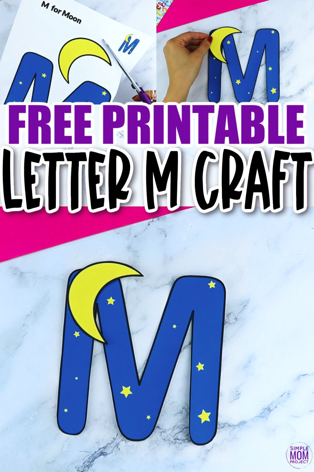 M is for Moon Printable Craft Moon Letter M Craft for Kids, preschoolers, toddlers and kindergartners