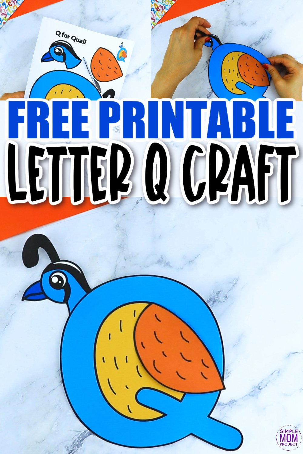 Q is for Quail Printable Craft Quail Letter Letter Q Craft for Kids, preschoolers, toddlers and kindergartners