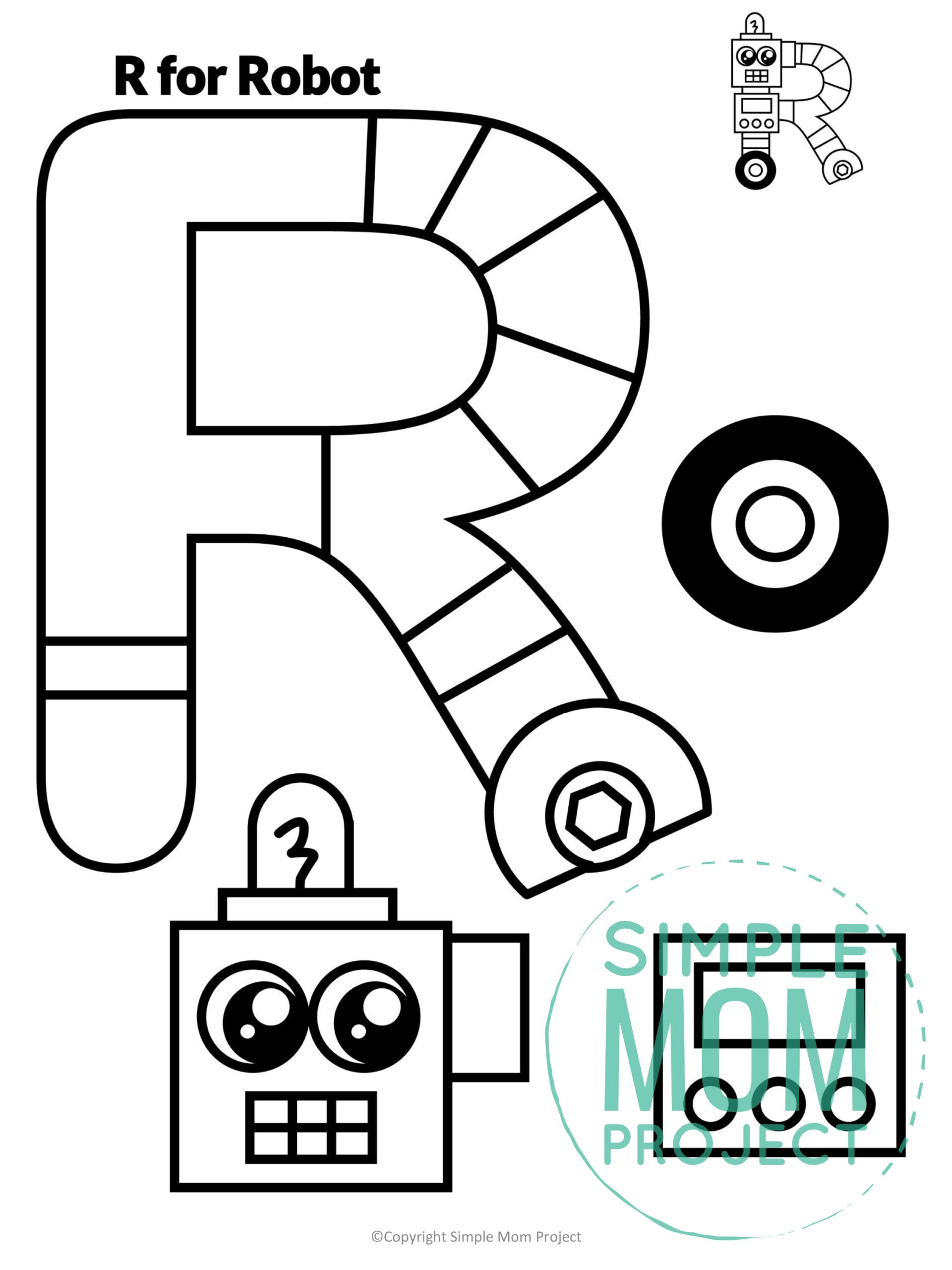 R is for Robot Printable Craft Robot Letter R Craft for Kids, preschoolers, toddlers and kindergartners