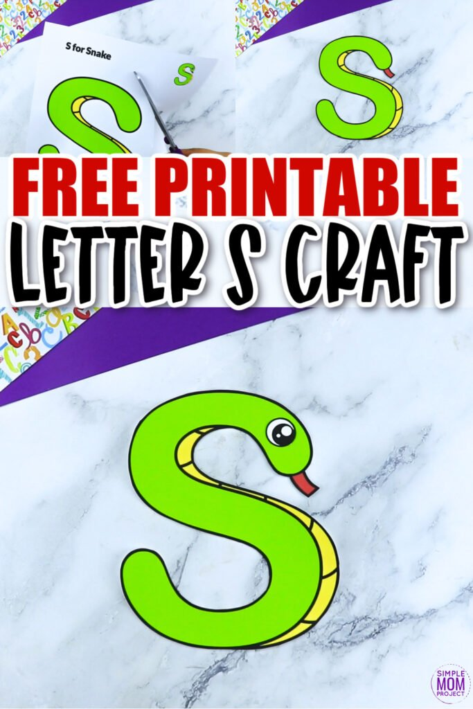 Are you looking for a fun and creative way to teach the alphabet uppercase letter S? Use this fun preschool free printable letter S for Snake learning craft activities. Grab other things that start with the letter S, like a seahorse, snowman, spider or star as you make this easy letter S craft. Your kindergarten students will also love making this fun printable letter S is for snake craft.