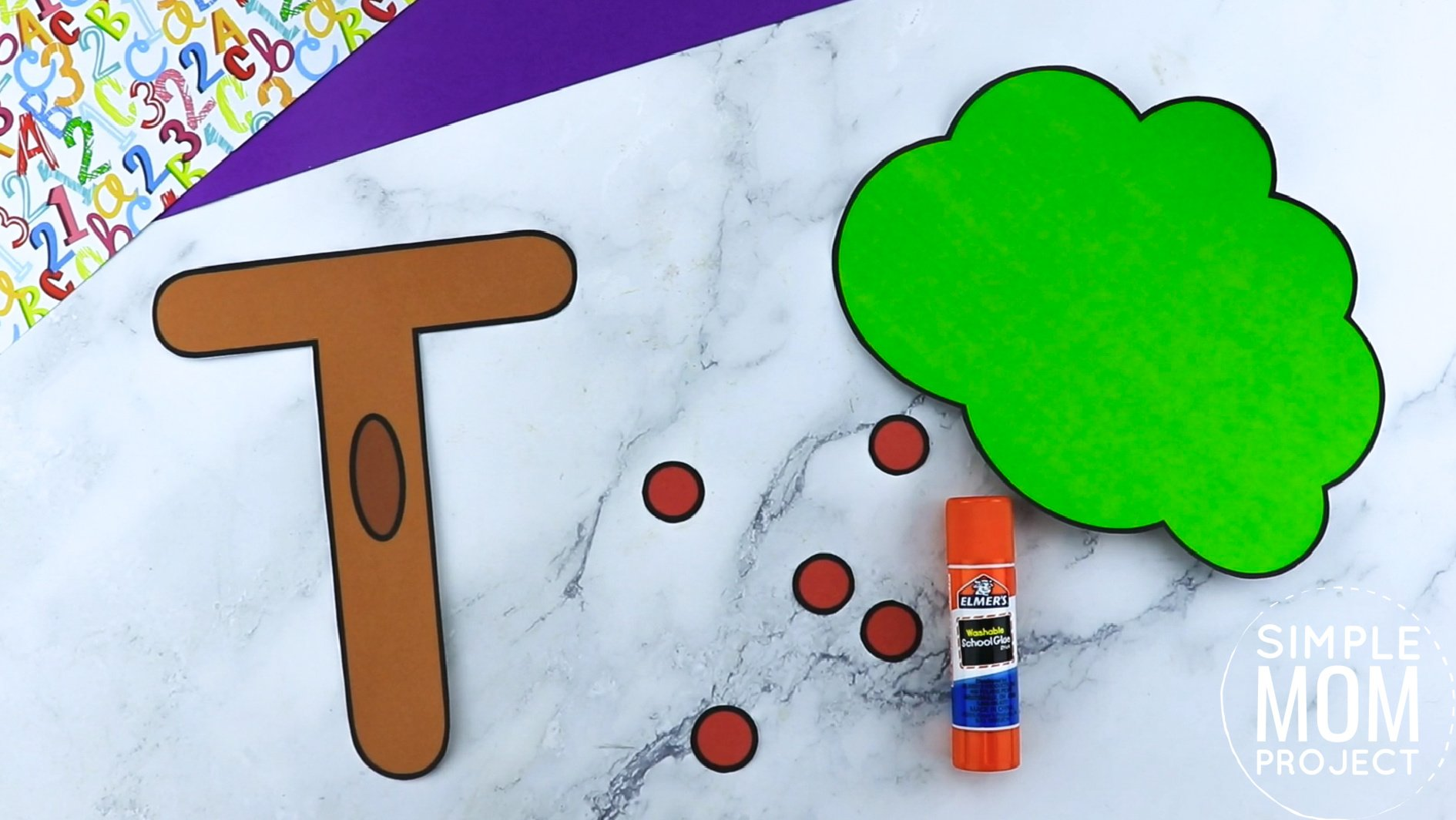 T is for Tree Printable Craft Tree Letter T Craft for Kids, preschoolers, toddlers and kindergartners