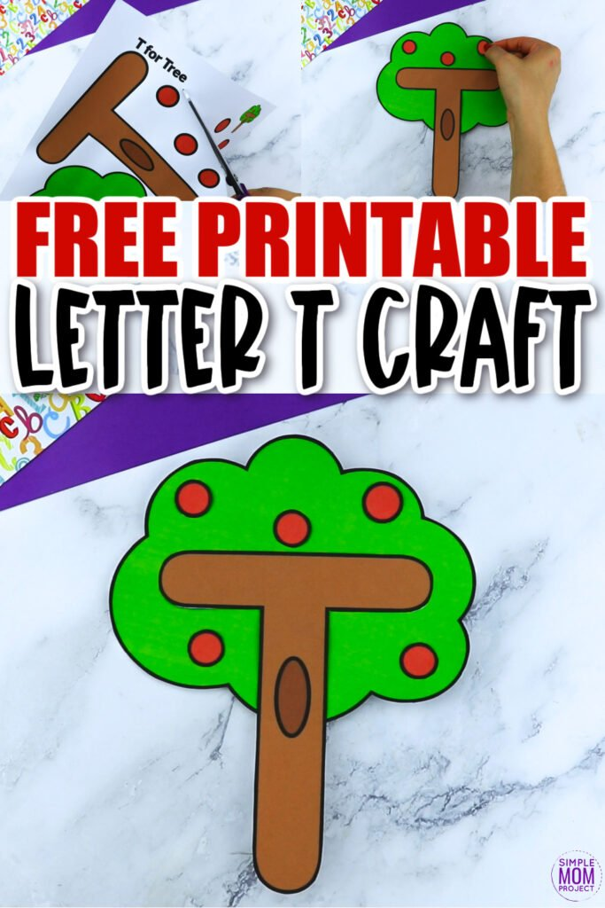 Are you looking for a fun and creative way to teach the alphabet uppercase letter T? Use this fun preschool free printable letter T is for Tree learning craft activities. Grab other things that start with the letter T, like a tiger stuffed animal, train, turtle or tractor toy or even a fun turkey toy as you make this easy letter T craft. Your kindergarten students will also love making this fun printable letter T is for tree craft.