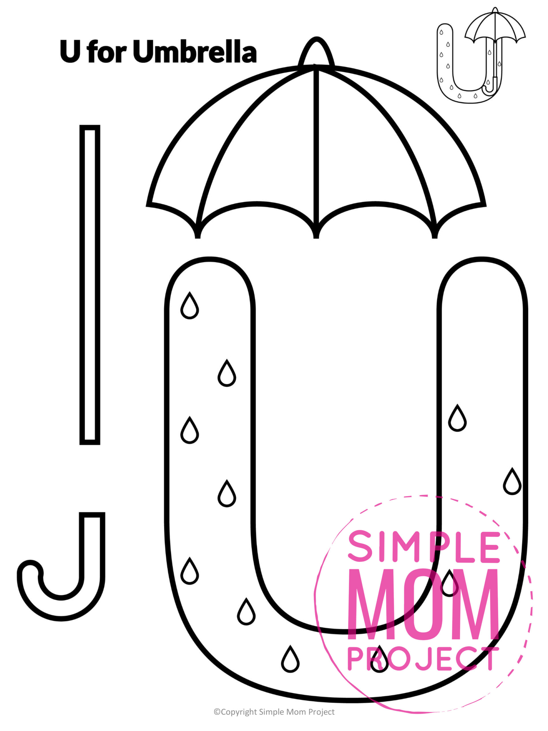 U is for Umbrella Printable Craft Umbrella Letter U Craft for Kids, preschoolers, toddlers and kindergartners
