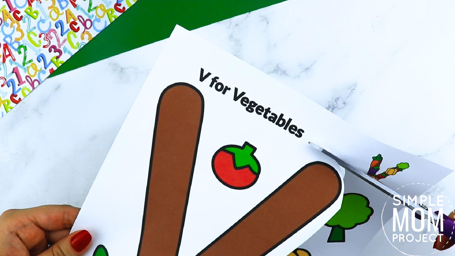 V is for Vegetables Printable Craft Vegetables Letter V Craft for Kids, preschoolers, toddlers and kindergartners
