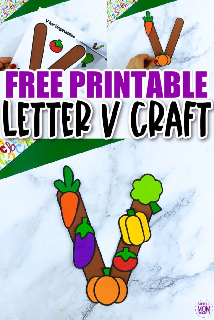 Are you looking for a fun and creative way to teach the alphabet uppercase letter V? Use this fun preschool free printable letter V is vegetable learning craft activities. Your kindergarten students will also love making this fun printable letter V is for vegetables craft.
