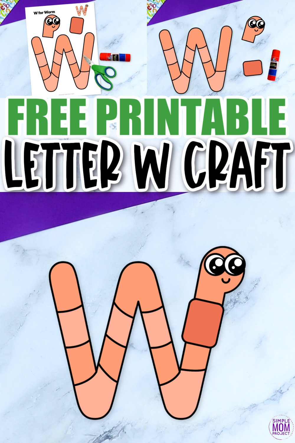 Are you looking for a fun and creative way to teach the alphabet uppercase letter W? Use this fun preschool free printable letter W is for worm learning craft activities. Grab other things that start with the letter W, like a walrus whale or wolf toy as you make this easy letter W craft. Your kindergarten students will also love making this fun printable letter W is for worm craft.