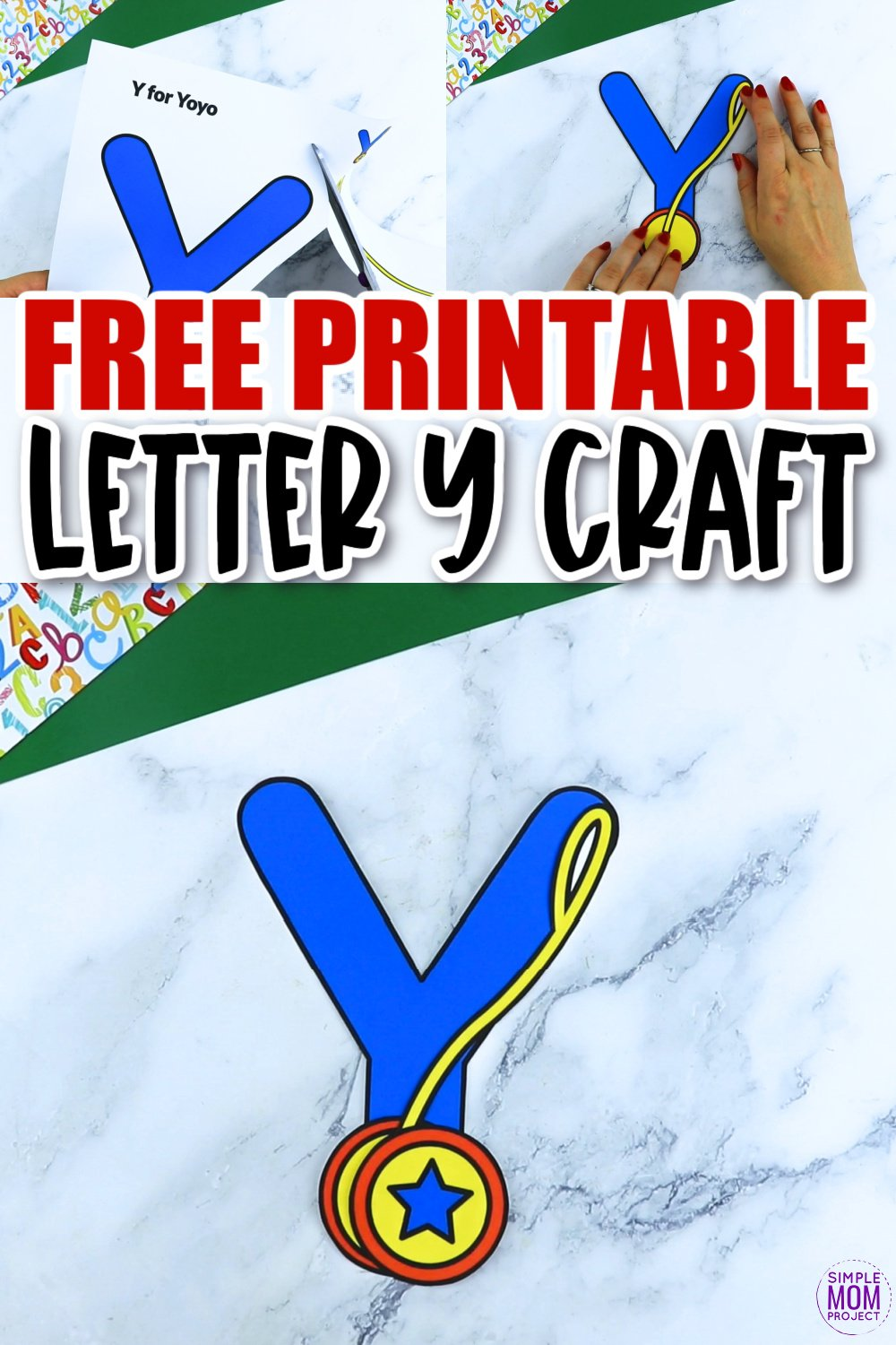 Are you looking for a fun and creative way to teach the alphabet uppercase letter Y? Use this fun preschool free printable letter Y for YoYo learning craft activities. Grab other things that start with the letter Y like a Yoda toy, yarn or even find a picture of a yacht as you make this easy letter Y craft. Your kindergarten students will also love making this fun printable letter Y is for yoyo craft.