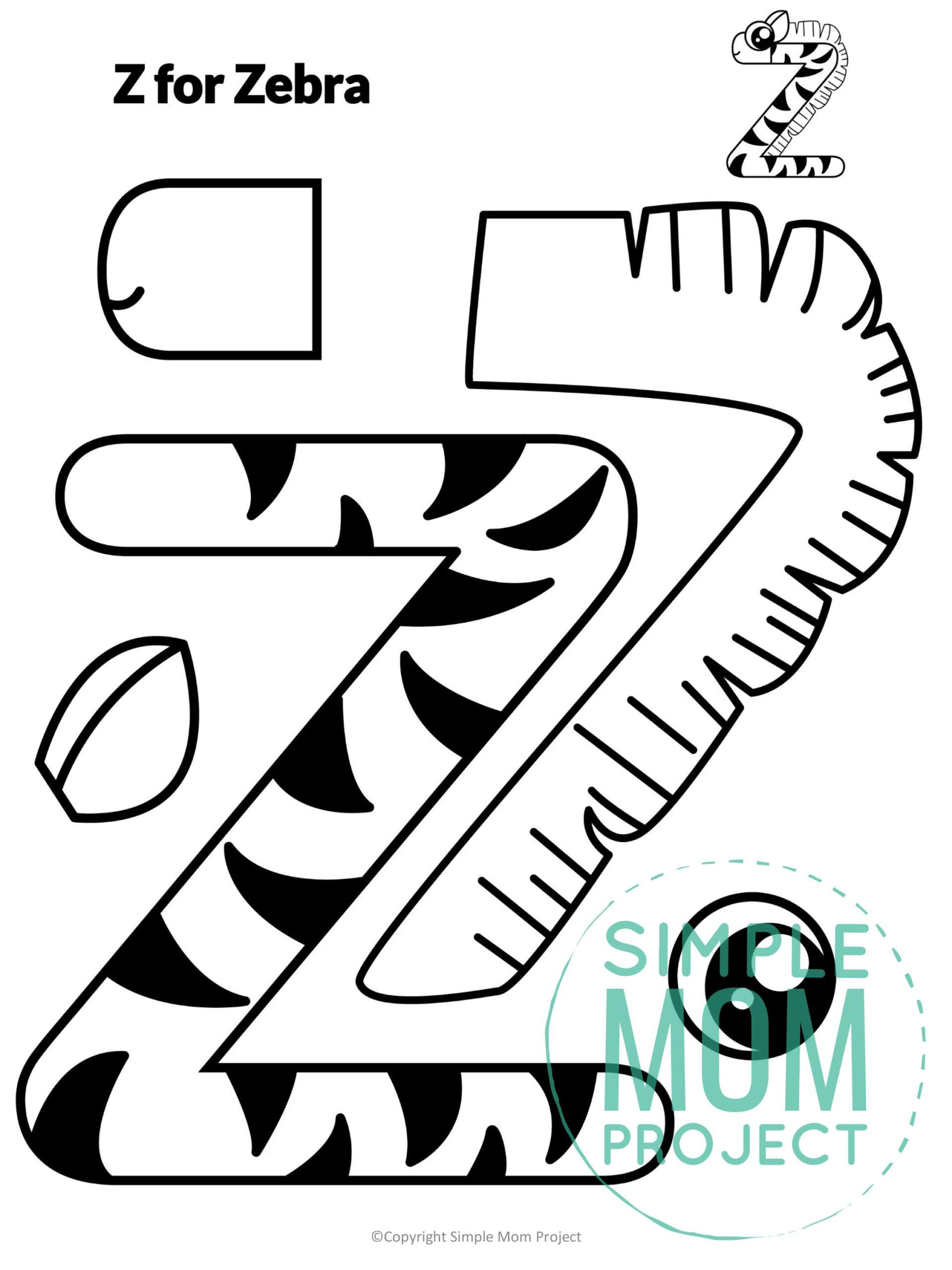 Z is for Zebra Printable Craft Zebra Letter Z Craft for Kids, preschoolers, toddlers and kindergartners