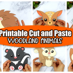 Printable Woodland Forest Animal Cut and Paste Crafts for Kids, preschoolers, toddlers and kindergartners