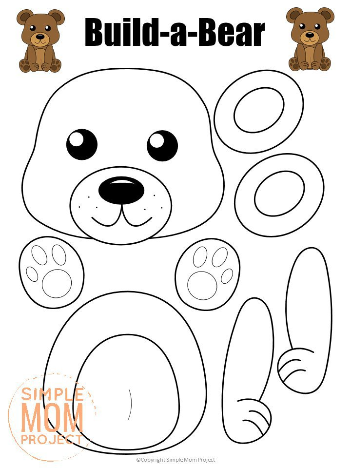Printable Bear Craft Template for kids, preschoolers, toddlers and kindergartners