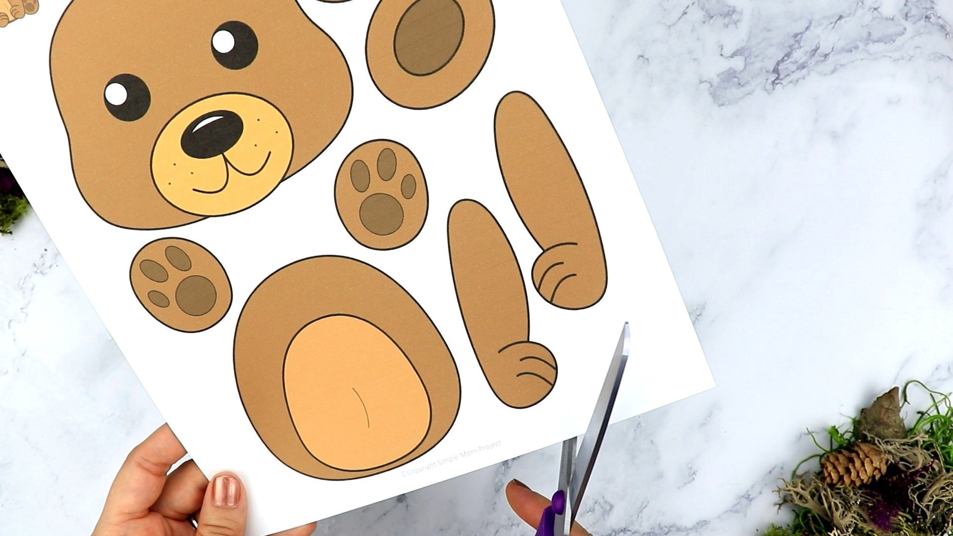 Free Printable Bear Craft Template for kids, preschoolers, toddlers and kindergartners