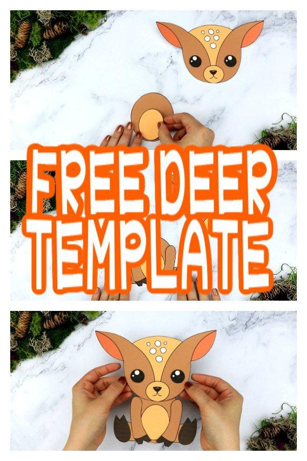 Free Printable Forest Deer Craft Template for kids, preschoolers, toddlers and kindergartners